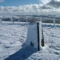 Trig point and ice architecture, Tinto Hill