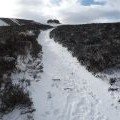 The path up to the Jubilee Tower on Moel Famau in snow
